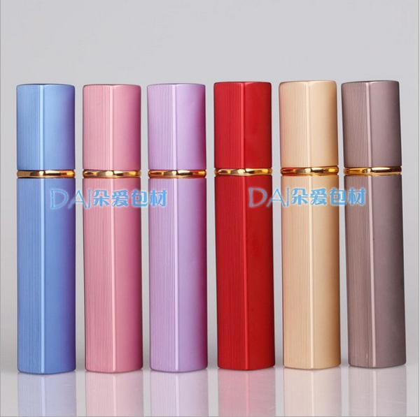 Caja metálica de 6 colores Botella de perfume 12ml Botella de perfume Boquilla de aluminio Botellas rellenables Vacíos de metal vacíos