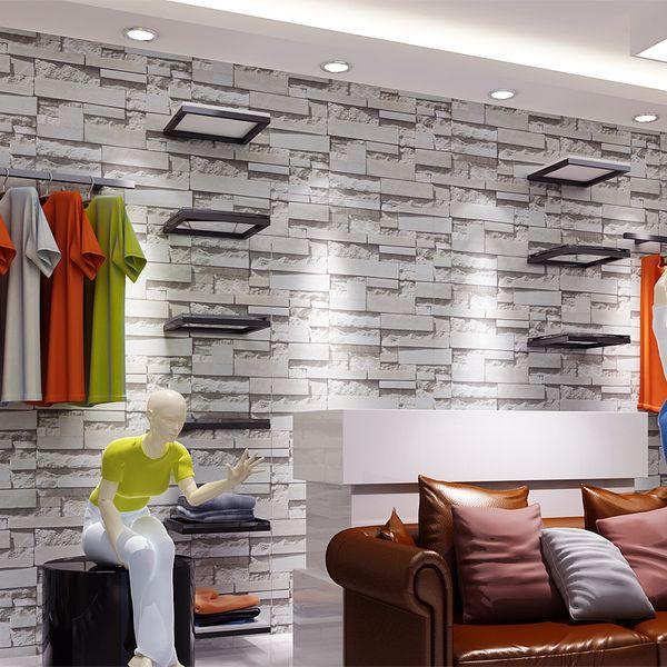 Modern Vintage 3D Stone Wall paper,3D Brick Wallpapers Design,Fashion Clothing Shop,Background Vinyl PVC Wallpaper for Walls