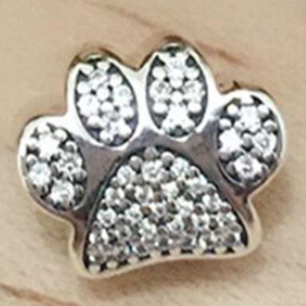Paw Prints Charm S925 perle en argent Sterling avec Clear Cz s'adapte européenne Pandora Bijoux Bracelets Colliers Pendentif