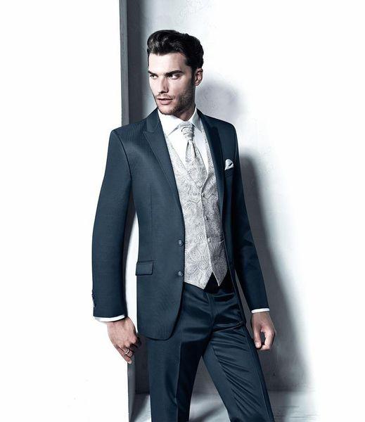 Custom Made 2015 Slim Fit two buttons Navy Blue Wedding Ceremony suit Groom Tuxedos bridegroom and Groomsman Suit Jacket+Pants+Tie+Vest