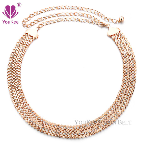 Punk Style Full Metal Plate Metallic Bling Gold knitte Hip Wide Chain Belts Straps For Jeans Trousers (BL-648) YouKee Belt