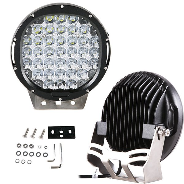 "EMS 2PCS 9"" 185W CREE 37LED*5W Driving Work Light Round Offroad SUV ATV 4WD 4x4 Spot / Flood Beam 9-32V 18500lm JEEP Tractor Headlamp Black"