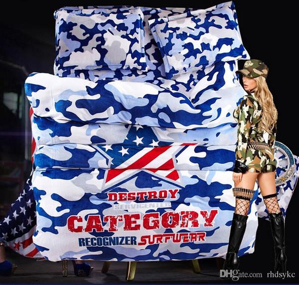 Camouflage Armée Camo ensembles de literie Étoile signe drapeau flanelle adulte drapeau américain Ensembles de literie 4 pcs nouveau