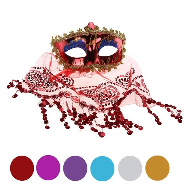 Belly Dance Sexy veil Mask Color PVC Lace Secret Women Princess Mask with Veil Masquerade Party Decoration Halloween Party Mask B281-2