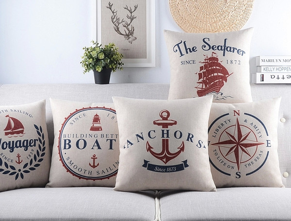 Sea Sailing Voyager Boats Anchors Cushion Cover The Seafarer Compass Pillow Case Decorative Sofa Seat Linen Cotton Cushions Pillows Covers