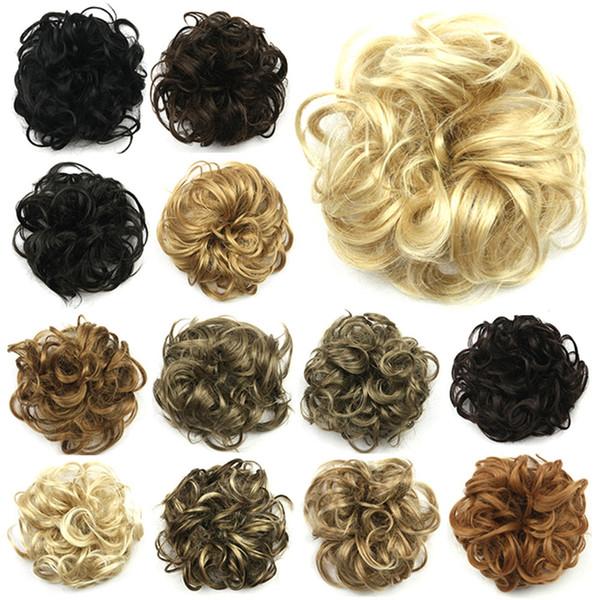 ZF 27 colores 12 CM moda para mujer bollos de pelo sintético cubre clips flores chiñones piezas de pelo fácil de usar moño de pelo