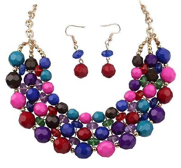 Statement Necklaces for Wedding Austrian Crystal Cheap EU Indian African Fashion Jewelry Necklace and Earrings Bridesmaid Jewelry Sets