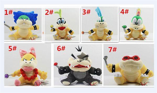 "100pcsCartoon Super Mario plush toys Wendy/Larry/Lemmy/Ludwing/O. Koopa Plush Sanei 8"" Stuffed Figure Super Mario Game Koopalings Dolll D408"