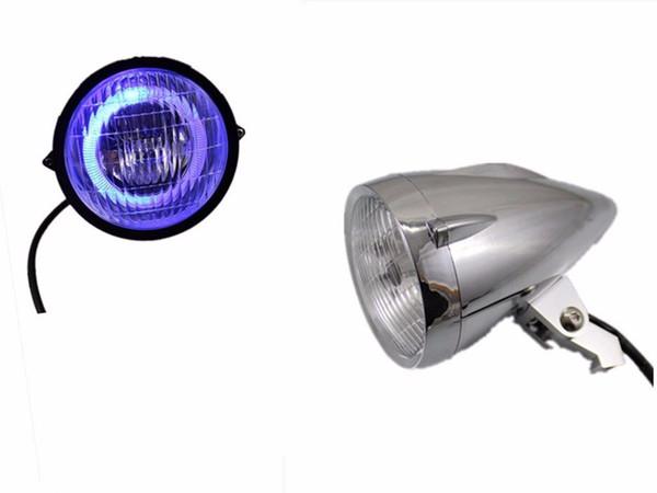 Faro anteriore cromato con luce a LED per Harley Honda Yamaha Kawasak Suzuki