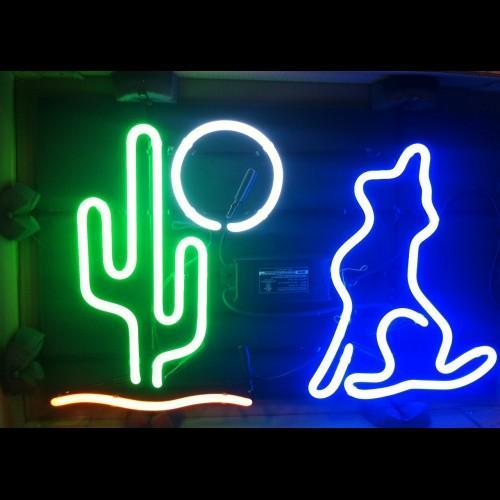 WOLF Neon Sign Real Tube Tube Bar Pub Store Pubblicità aziendale Decorazione domestica Regalo di arte Display Cornice in metallo Dimensioni 17''X14 ''