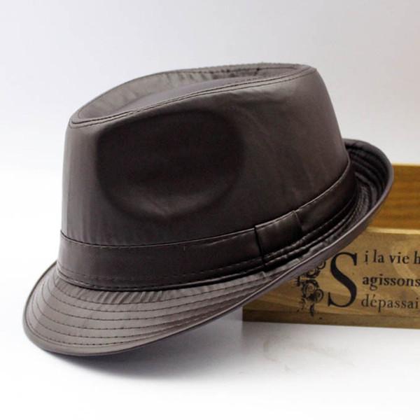 d2ae980d919 Wholesale-Men fedora Trilby hat Black Leather Fedora Hat for Women chapeau  homme vintage jazz