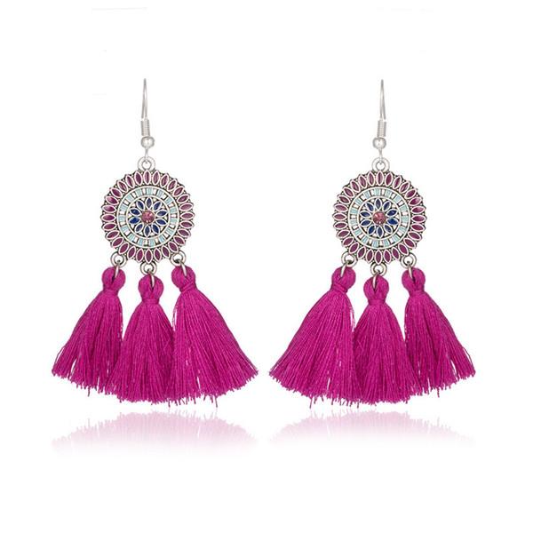Multi Color Long Tassel Fringe Earring For Women New Boho Design Sunflower Shape Statement Dangle Drop Earrings KJ