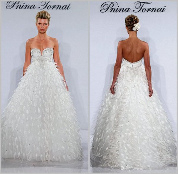 Pnina Tornai Fancy Fur Ball Gowns Backless Wedding Dresses Beach ...