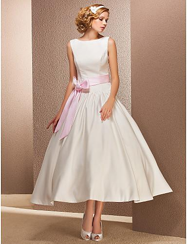 2016 New Hot Fashion Free Shipping Ball Gown Ivory Tea-length Bateau Blushing Pink Sash Satin Reception Wedding Dresses 005