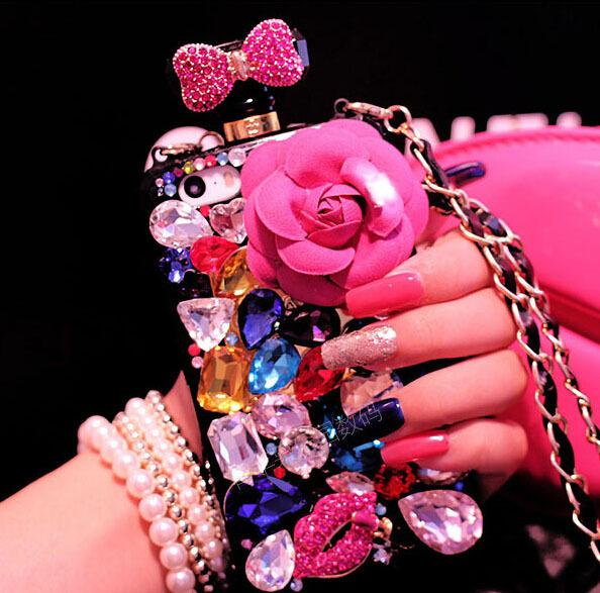 2015 rose red flower fashion case luxury rhinestone Perfume bottles phone TPU cover case for4 4S 5 5s 5c 6 6plus 6s 6splus