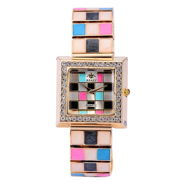 NEW HOT 30PCS Luxury special square face grid pattern diamonds decoration alloy wrist watch Woman girl good gift watch