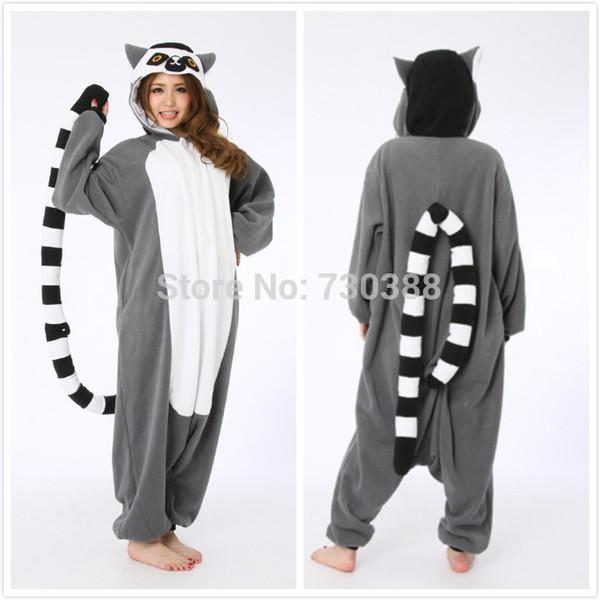 mascot Halloween Novelty Animal Lemur Long Tail Monkey Adult Onesie Unisex Women Men Pajamas Christmas Party Costumes Plus Size