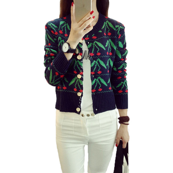 Wholesale- Casual Women Sweater Cardigans Cherry Print Long Sleeve Sweater Single Breasted Knitted Sweater Warm O-Neck Autumn Cardigans