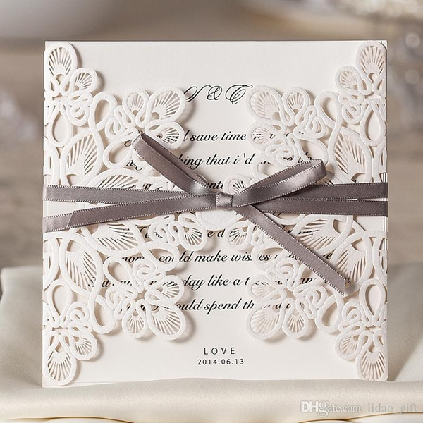2015 White Lace Wedding Invitation Cards Hollow Flora With Ribbbon Personalized Nature Printing Folded Bird Wedding Invitations Blank Wedding