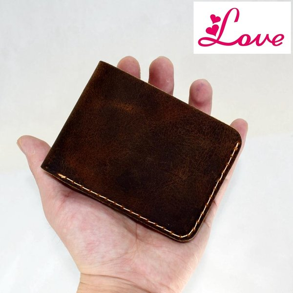 Lucia Smirnoff Genuine Leather Men Wallet for Rouble Handmade Slim Thin Custom Name Cowhide Leather Men Wallet Short Purse Bag Male