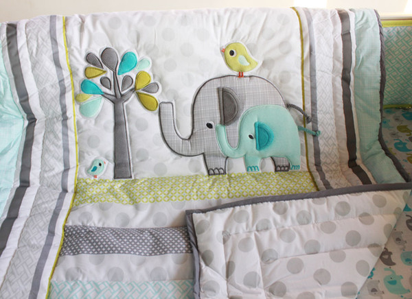 Baby bedding set 7Pcs comfortable Embroidery 3D elephant bird Baby crib bedding set include Baby quilt bed skirt quilt bumper