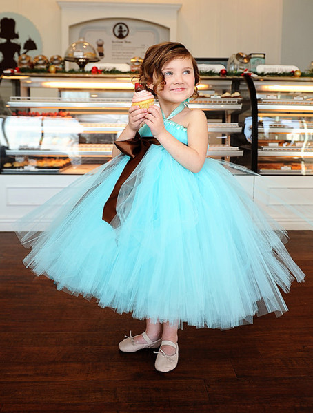 Cheap Mint Green Flower Girls' Dresses 2018 Tutu Dress Halter Ball Gown Ankle Length Wedding Party Gown Girl Pageant Gowns For Communion