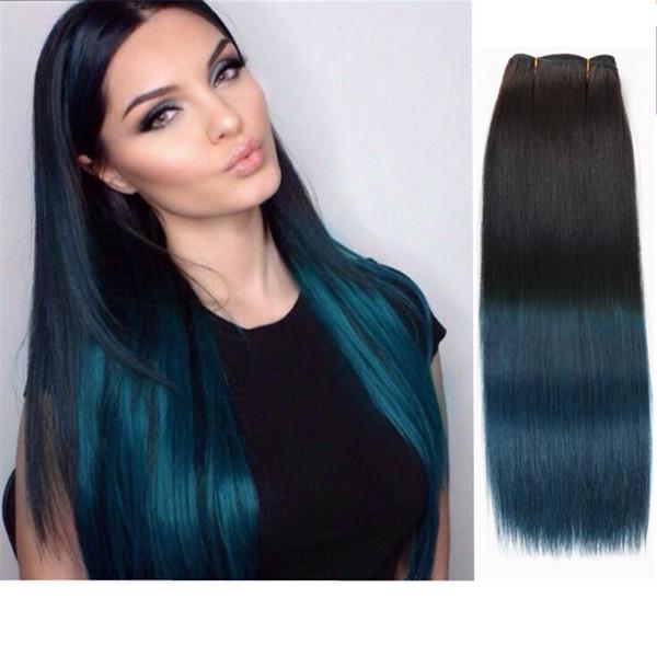 2017 Ombre Couleur 1B Bleu Droite Brésilienne Coloré Faisceaux de Cheveux Humains Extension de Cheveux Humains 3 pcs lot Deux Tone 1b Bleu Foncé Ombre Cheveux
