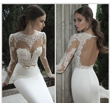 best selling Only 59$ 2019 new Berta Bridal Mermaid Wedding Dresses Jewel Neck Poet Long Sleeve Illusion Sheer Appliques Lace Backless Back Formal Gowns