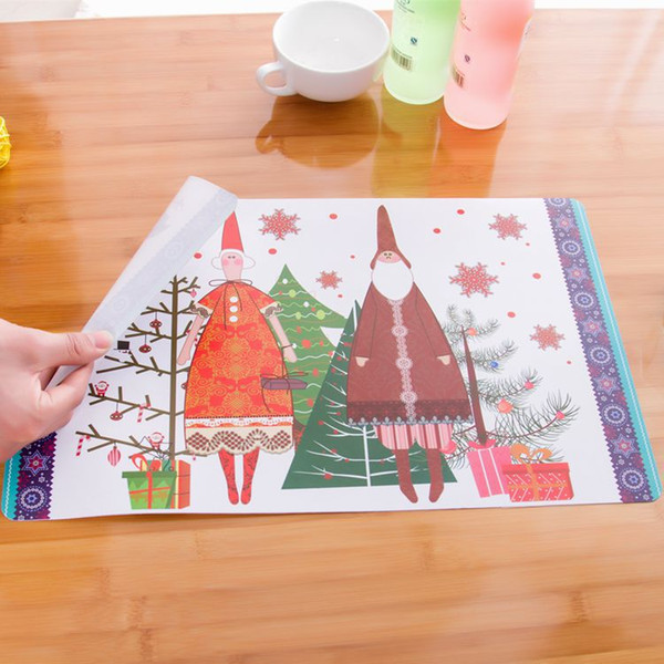 Christmas Party Table Cloth Creative Christmas Snowman Color Placemats Insulation PP Pad Party Decoration for Sale SD701