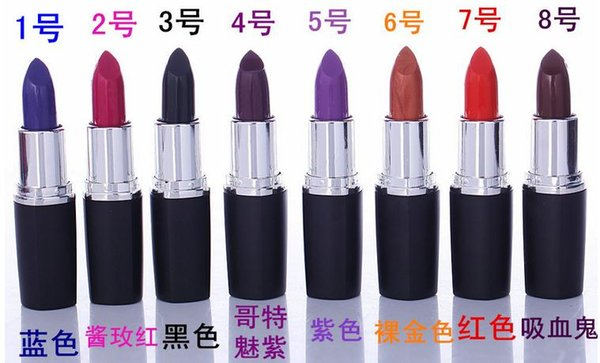 Brand new Luster Lipstick Frost Lipstick Matte Lipstick Hallowmas COSPLAY vampire party Makeup Lipgloss cosmetics 8colors gift drop shipping