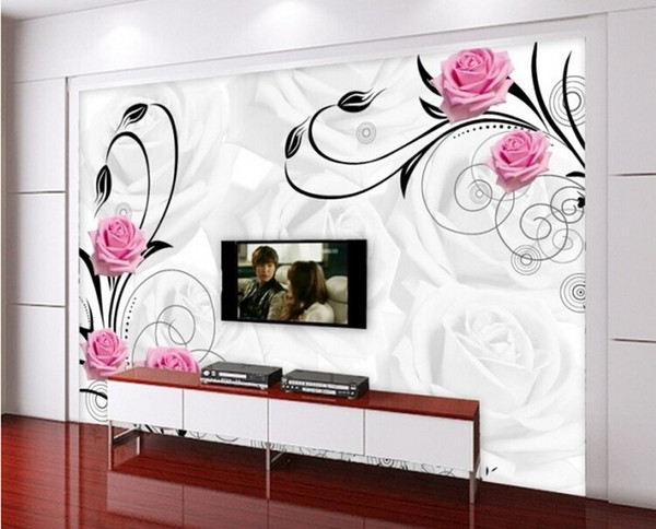 New can customized large 3D mural art wallpaper home decor Personality visual,Romantic flowers embossed grain wall stickers love TV setting