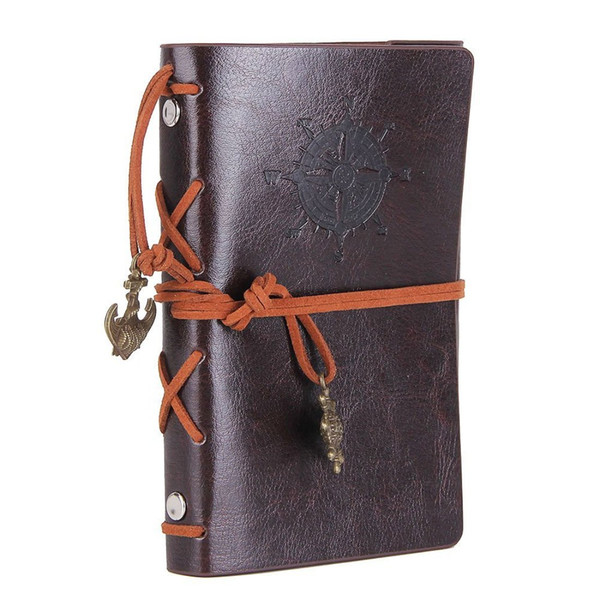 Leather Writing Journal Notebook Vintage Nautical Spiral Blank 6 Ring Binder String Daily Notepad Travel to Write 5 Inches Coffee