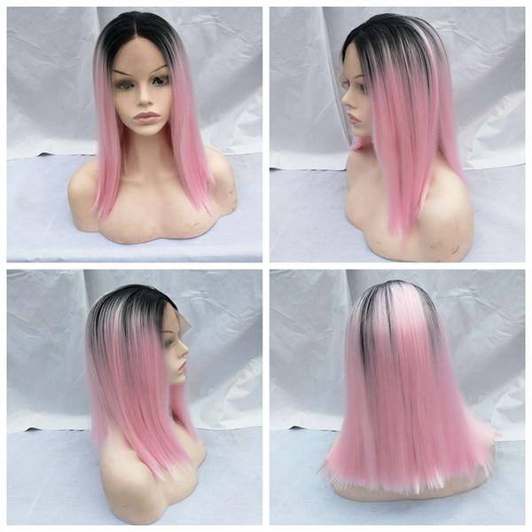 Ombre Rosa Kurze Bobo Gerade Synthetische Lace Front Perücken Bob Für Frauen Hochtemperatur Kurze Frisuren Natürliche Afro Perücken