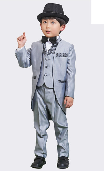 Boy's suit flower wedding suit children dress tuxedo formal clothes boy birthday party dress (jacket+pants+vest+tie) Custom made