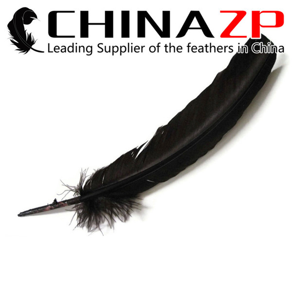 Leading Supplier CHINAZP Crafts Factory 30~35cm(12~14inch) Graceful Natural Dyed Black Turkey Wing Feathers for Making Millinery