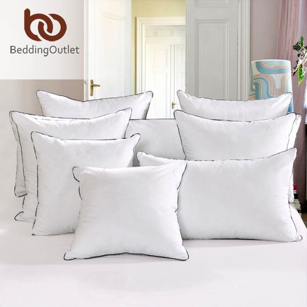 Wholesale- BeddingOutlet Down Alternative Pillow Simple Style Cotton Fabric Pillow Cushion on the Bed 6 Size