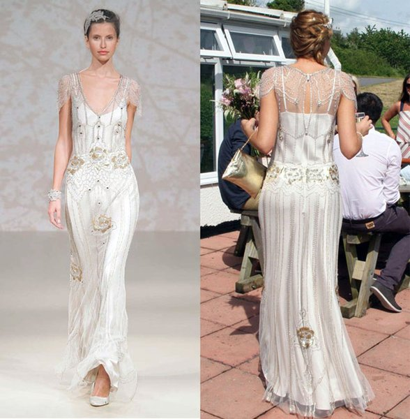 Best Selling Bridal Wedding Dresses 2016 Heavily Embroideried Sequin Beaded Cap Sleeves V Neckline Sweep