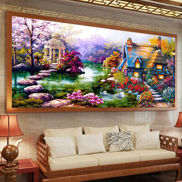 50 *90cm Garden Crystal Diy 5d Diamond Painting Cross Stitch Round 3d Diamond Stitch Tools Kit Diamond Mosaic Room Decor