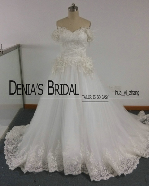 Maison Yeya Wedding Dresses Hand Made Flowers/Feathers/Appliques Chapel Train Bridal Dresses Real Images With free Veil and Petticoat Gloves