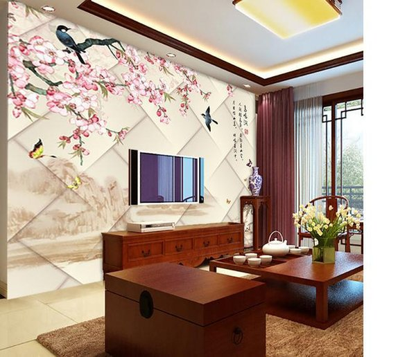 Customize size High Quickly HD mural 3d wallpaper wall paper flower papel de parede wholesale price Free shipping!!!