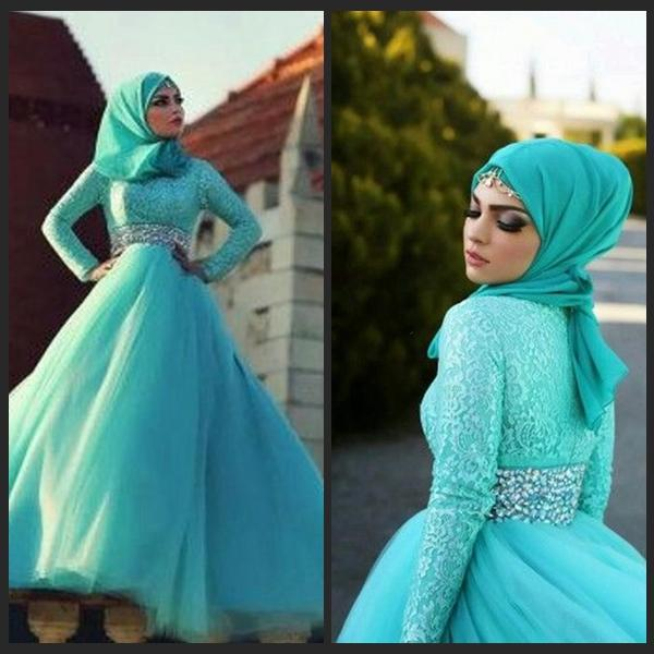 2016 Long Sleeves Prom Dresses Crystal Beaded Lace Tulle Turquoise Green Plus Size Hijab Muslim Evening Gowns Islamic Dresses