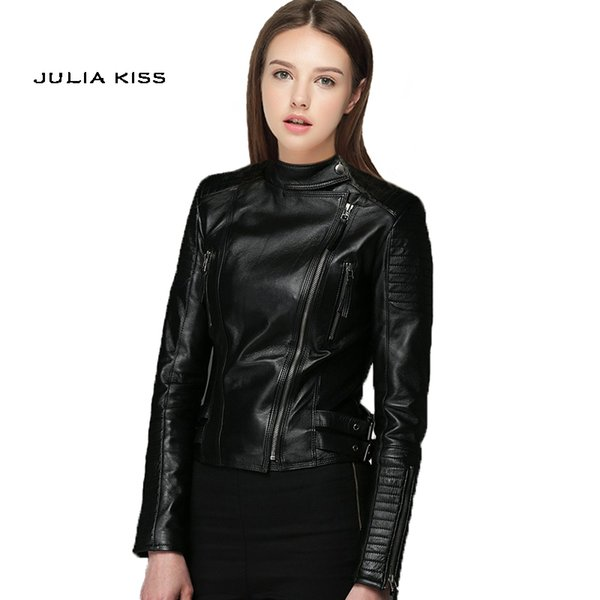 Wholesale- Women PU Leather Jacket 2016 autumn new high Fashion street brand style Leather Short Motorcycle Jacket Outerwear top quality