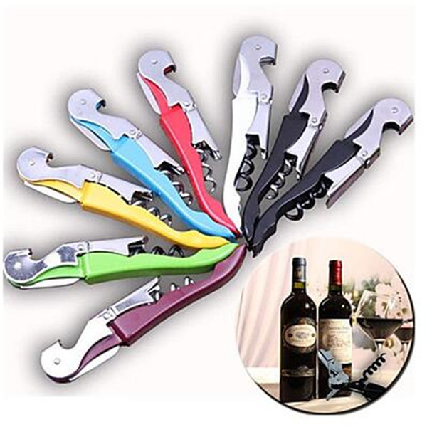 Multi function wine cork crew  tainle    teel bottle opener knife pull tap double hinged cork crew creative promotional gift