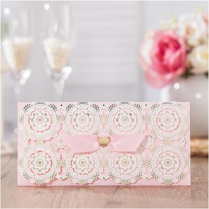 Laser Cut Flower Envelopes for Wedding Gold Pink Ribbon Paper Gift Bag for Bridal Wedding Gift Envelope 30pc/lot