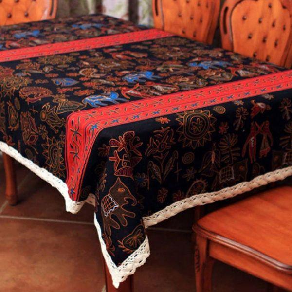 Bohemia Color Table Cloth National Style Cotton Linen Festive Decor Table Cover Cloth Christmas Gift SD724