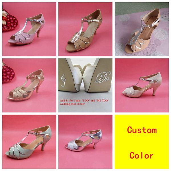 "Vintage Wedding Shoes T-Straps Buckle Closure Leather Party Dance Shoes 3"" High Heels Women Sandals Custom-Made Bridal Shoes Bridesmaid Shoe"