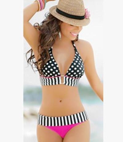 Fashion Halter Neck Polka Dot Striped Edged Patchwork Black and White Top Rose Red Bottom Bikini Set