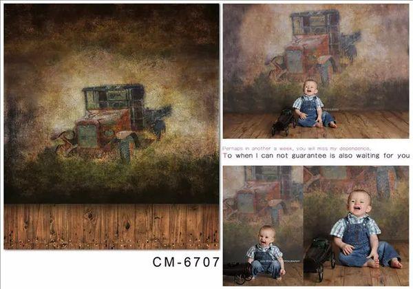 5X7ft Retro Truck Wall Painting Photography Computer Printed Digital Cloth Vinyl Backdrop Studio Backgrounds Senior Backdrops