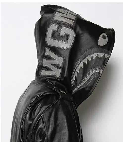 17fw WGM вышивка акула куртка человек принести шляпу кожаная одежда глава мода свободные кожаный балахон молнии пальто кожи HFWPJK001