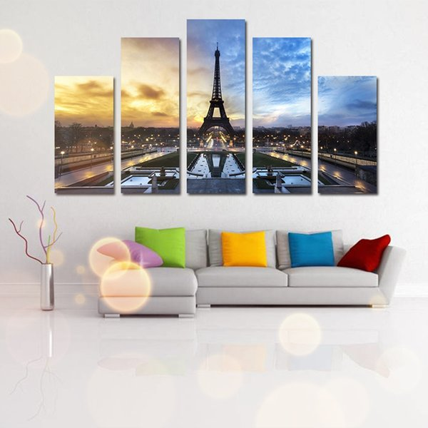 2018 Five Parts Eiffel Tower Square Decorative Painting Living